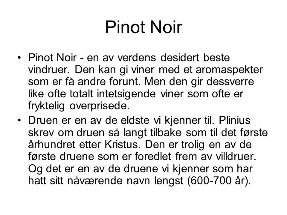 Pinot Noir •Pinot Noir - en av verdens desidert beste vindruer.