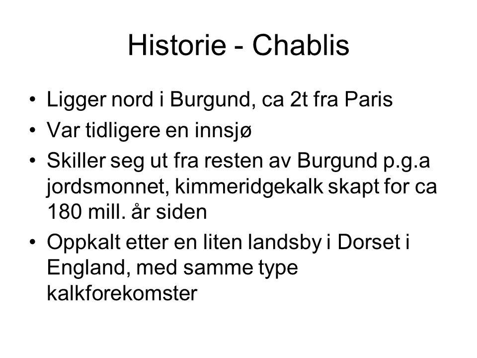 Historie - Chablis •Ligger nord i Burgund, ca 2t fra Paris •Var tidligere en innsjø •Skiller seg ut fra resten av Burgund p.g.a jordsmonnet, kimmeridgekalk skapt for ca 180 mill.