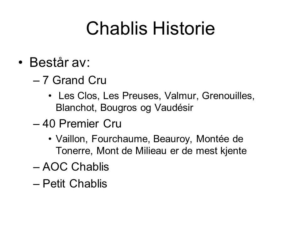 Chablis Historie •Består av: –7 Grand Cru • Les Clos, Les Preuses, Valmur, Grenouilles, Blanchot, Bougros og Vaudésir –40 Premier Cru •Vaillon, Fourchaume, Beauroy, Montée de Tonerre, Mont de Milieau er de mest kjente –AOC Chablis –Petit Chablis