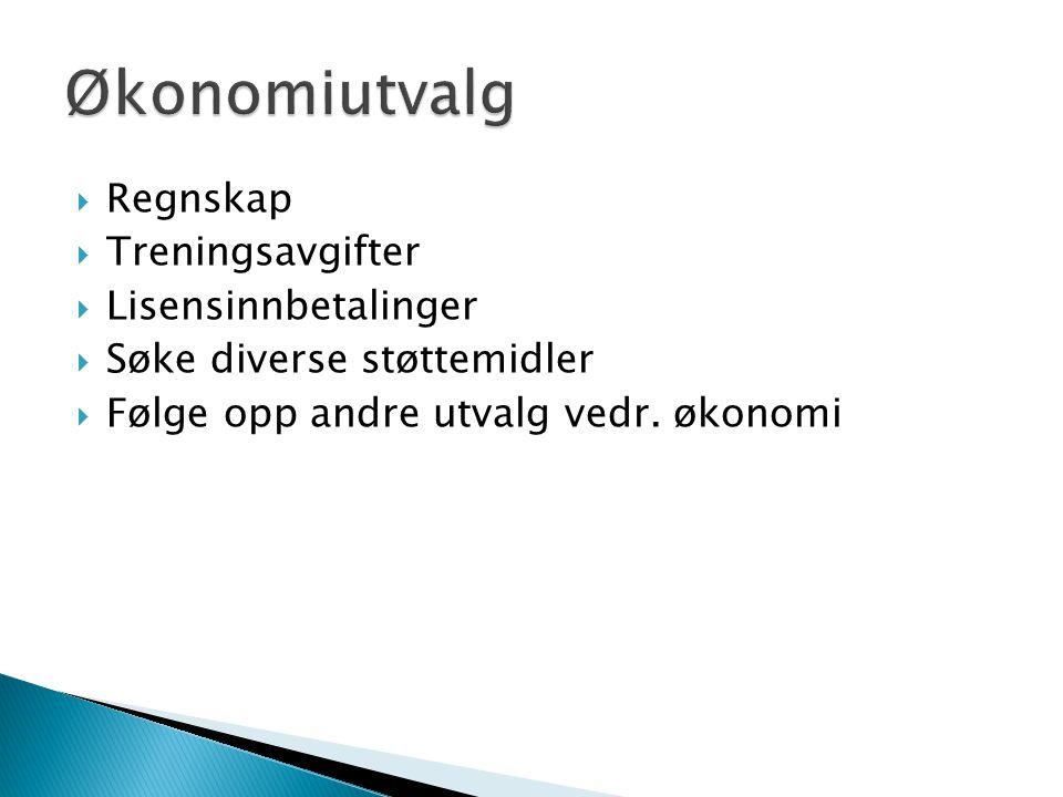  Regnskap  Treningsavgifter  Lisensinnbetalinger  Søke diverse støttemidler  Følge opp andre utvalg vedr. økonomi