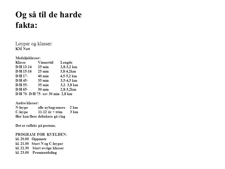 Og så til de harde fakta: Løyper og klasser: KM Natt Medaljeklasser: KlasseVinnertidLengde D/H 13-1425 min2,8-3,2 km D/H 15-1625 min 3,8-4,2km D/H 17-40 min 4,5-5,2 km D/H 45-35 min3,5-4,5 km D/H 55-35 min3,2- 3,8 km D/H 65-30 min2,8-3,2km D/H 70- D/H 75- osv 30 min 2,8 km Andre klasser: N-løypealle nybegynnere 2 km C-løype 11-12 år + trim 3 km Her kan flere deltakere gå i lag Det er refleks på postene.
