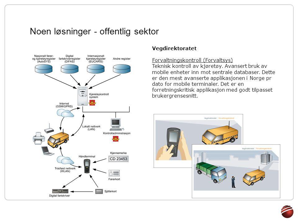 Noen løsninger - offentlig sektor Vegdirektoratet Forvaltningskontroll (Forvaltsys) Teknisk kontroll av kjøretøy. Avansert bruk av mobile enheter inn