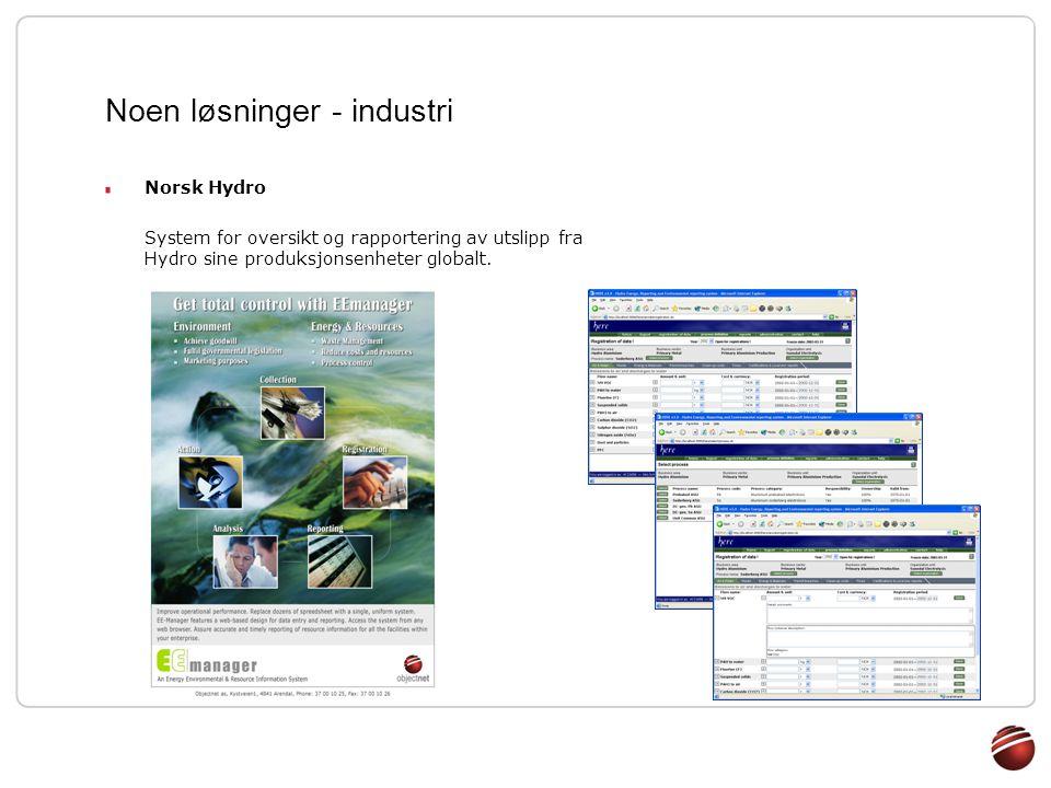 Noen løsninger - industri Norsk Hydro System for oversikt og rapportering av utslipp fra Hydro sine produksjonsenheter globalt.