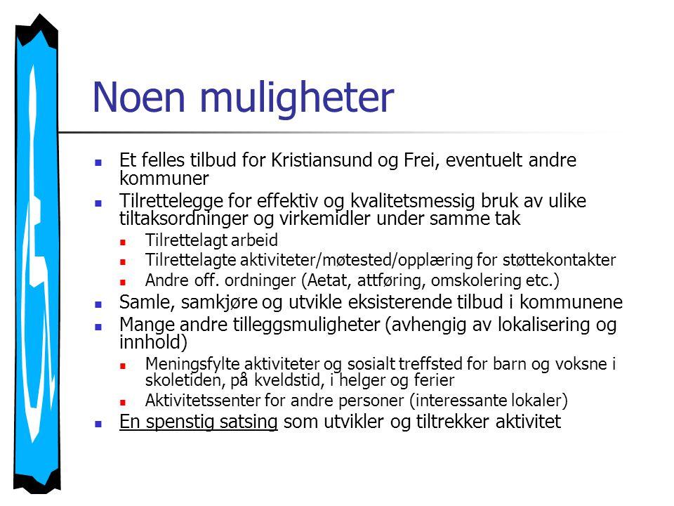 Noen muligheter  Et felles tilbud for Kristiansund og Frei, eventuelt andre kommuner  Tilrettelegge for effektiv og kvalitetsmessig bruk av ulike tiltaksordninger og virkemidler under samme tak  Tilrettelagt arbeid  Tilrettelagte aktiviteter/møtested/opplæring for støttekontakter  Andre off.