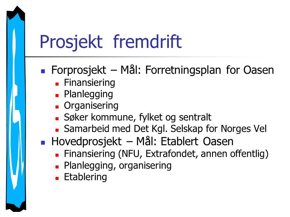  Forprosjekt – Mål: Forretningsplan for Oasen  Finansiering  Planlegging  Organisering  Søker kommune, fylket og sentralt  Samarbeid med Det Kgl.
