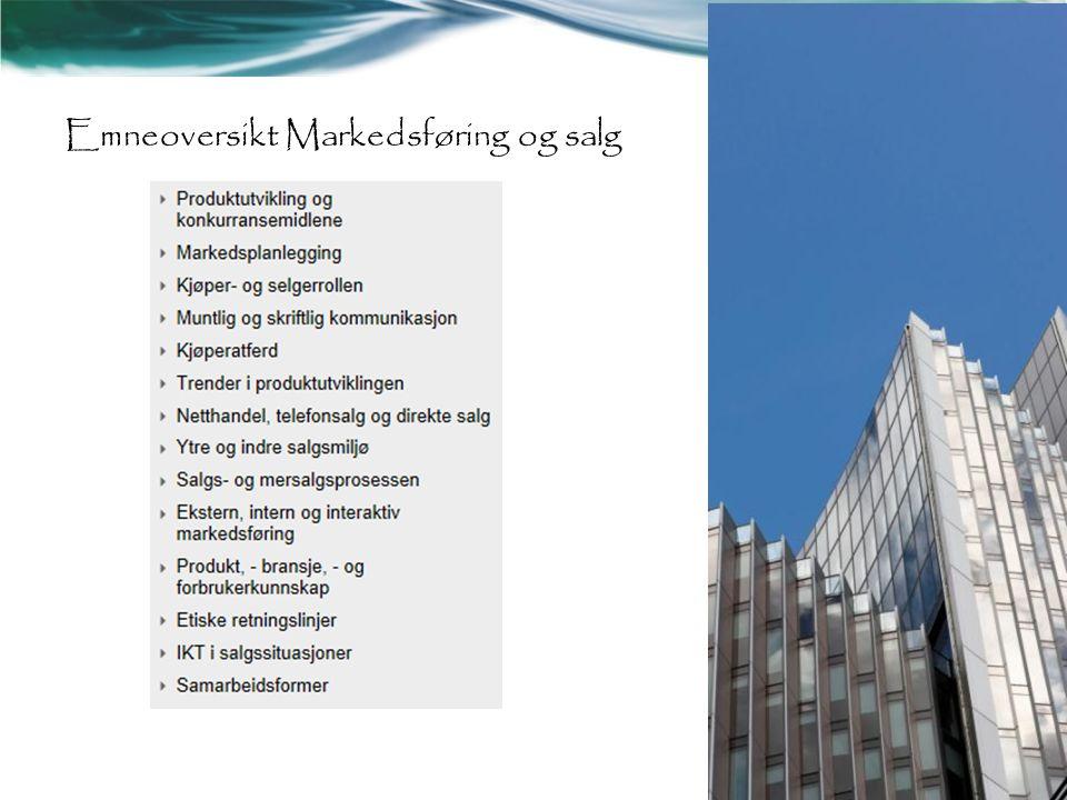 Emneoversikt Markedsføring og salg