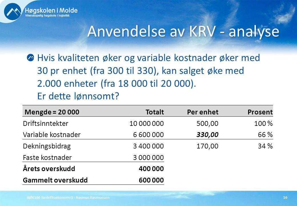 BØK100 Bedriftsøkonomi 1 - Rasmus Rasmussen10 Hvis kvaliteten øker og variable kostnader øker med 30 pr enhet (fra 300 til 330), kan salget øke med 2.