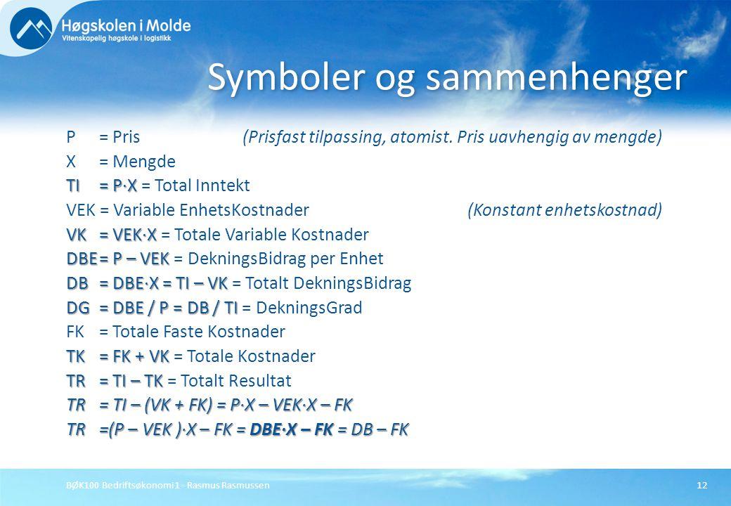 BØK100 Bedriftsøkonomi 1 - Rasmus Rasmussen12 P= Pris (Prisfast tilpassing, atomist. Pris uavhengig av mengde) X= Mengde TI= P∙X TI= P∙X = Total Innte