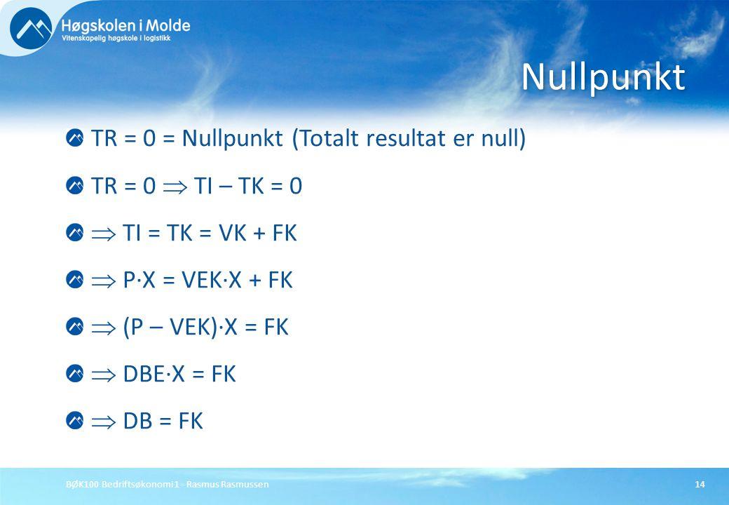 BØK100 Bedriftsøkonomi 1 - Rasmus Rasmussen14 TR = 0 = Nullpunkt (Totalt resultat er null) TR = 0  TI – TK = 0  TI = TK = VK + FK  P∙X = VEK∙X + FK