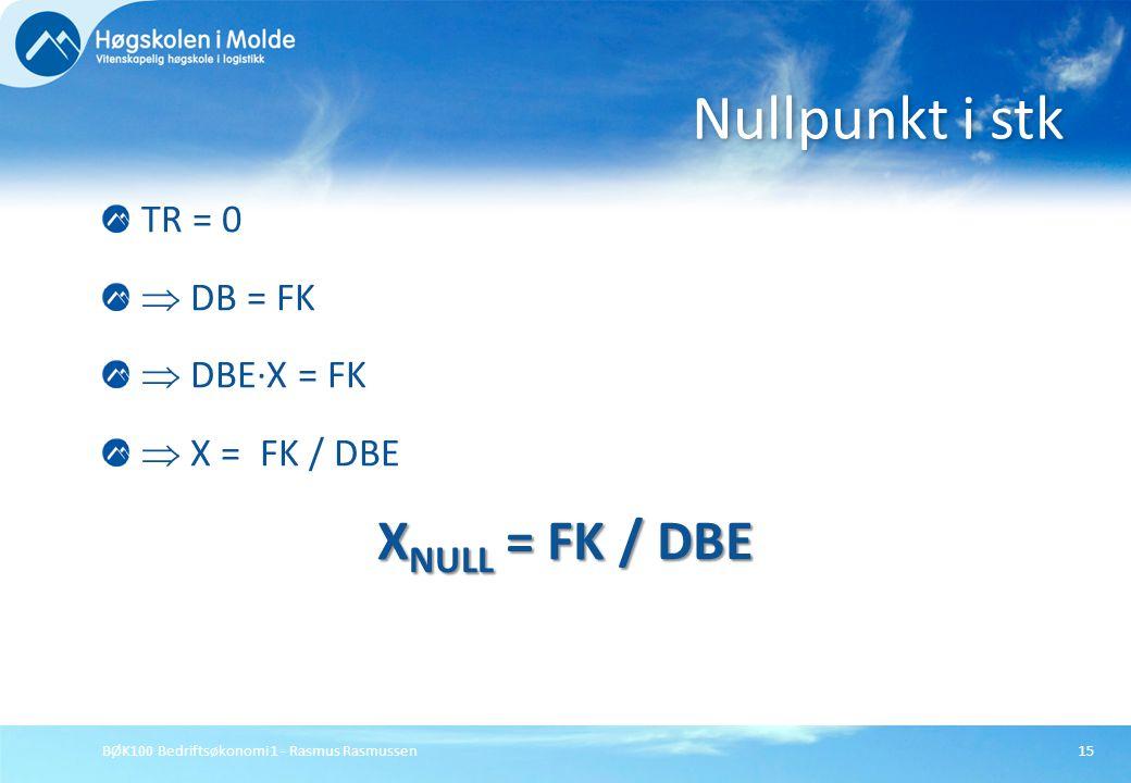 BØK100 Bedriftsøkonomi 1 - Rasmus Rasmussen15 TR = 0  DB = FK  DBE∙X = FK  X = FK / DBE X NULL = FK / DBE Nullpunkt i stk