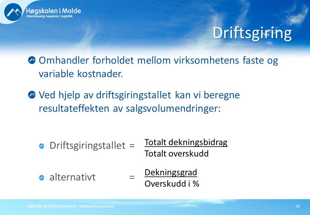 BØK100 Bedriftsøkonomi 1 - Rasmus Rasmussen31 Omhandler forholdet mellom virksomhetens faste og variable kostnader. Ved hjelp av driftsgiringstallet k