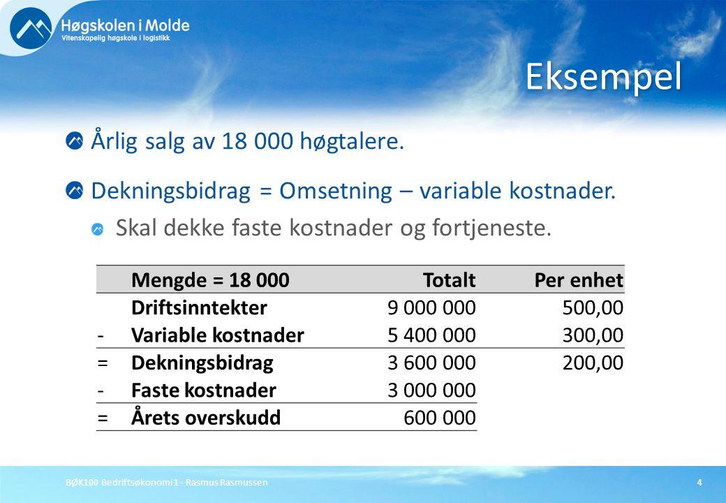 BØK100 Bedriftsøkonomi 1 - Rasmus Rasmussen4 Årlig salg av 18 000 høgtalere. Dekningsbidrag = Omsetning – variable kostnader. Skal dekke faste kostnad