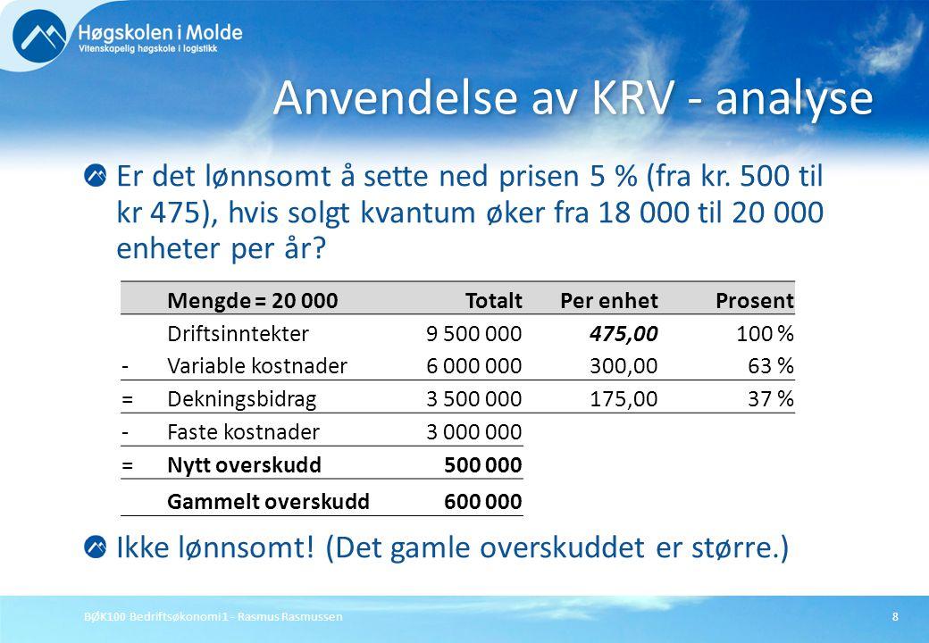 BØK100 Bedriftsøkonomi 1 - Rasmus Rasmussen8 Er det lønnsomt å sette ned prisen 5 % (fra kr. 500 til kr 475), hvis solgt kvantum øker fra 18 000 til 2