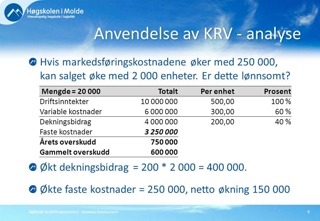 BØK100 Bedriftsøkonomi 1 - Rasmus Rasmussen9 Hvis markedsføringskostnadene øker med 250 000, kan salget øke med 2 000 enheter. Er dette lønnsomt? Økt