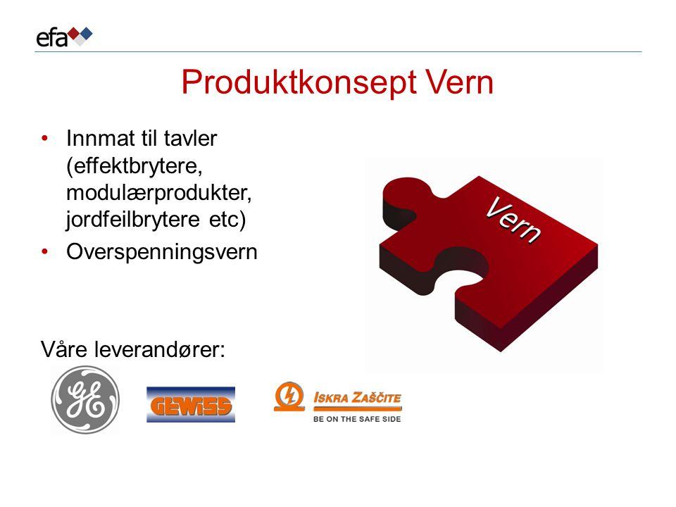 Produktkonsept Vern •Innmat til tavler (effektbrytere, modulærprodukter, jordfeilbrytere etc) •Overspenningsvern Våre leverandører: