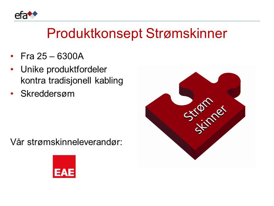 Produktkonsept Strømskinner •Fra 25 – 6300A •Unike produktfordeler kontra tradisjonell kabling •Skreddersøm Vår strømskinneleverandør: