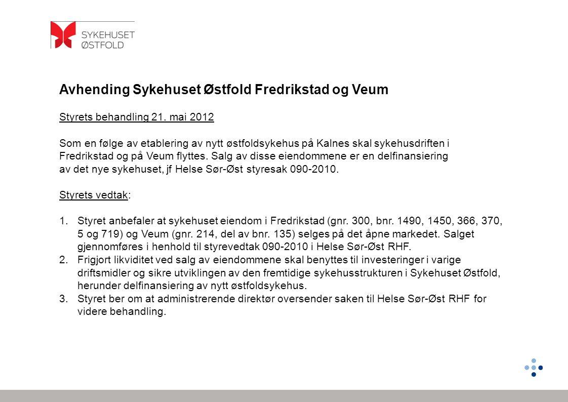 Avhending Sykehuset Østfold Fredrikstad og Veum Styrets behandling 21. mai 2012 Som en følge av etablering av nytt østfoldsykehus på Kalnes skal sykeh