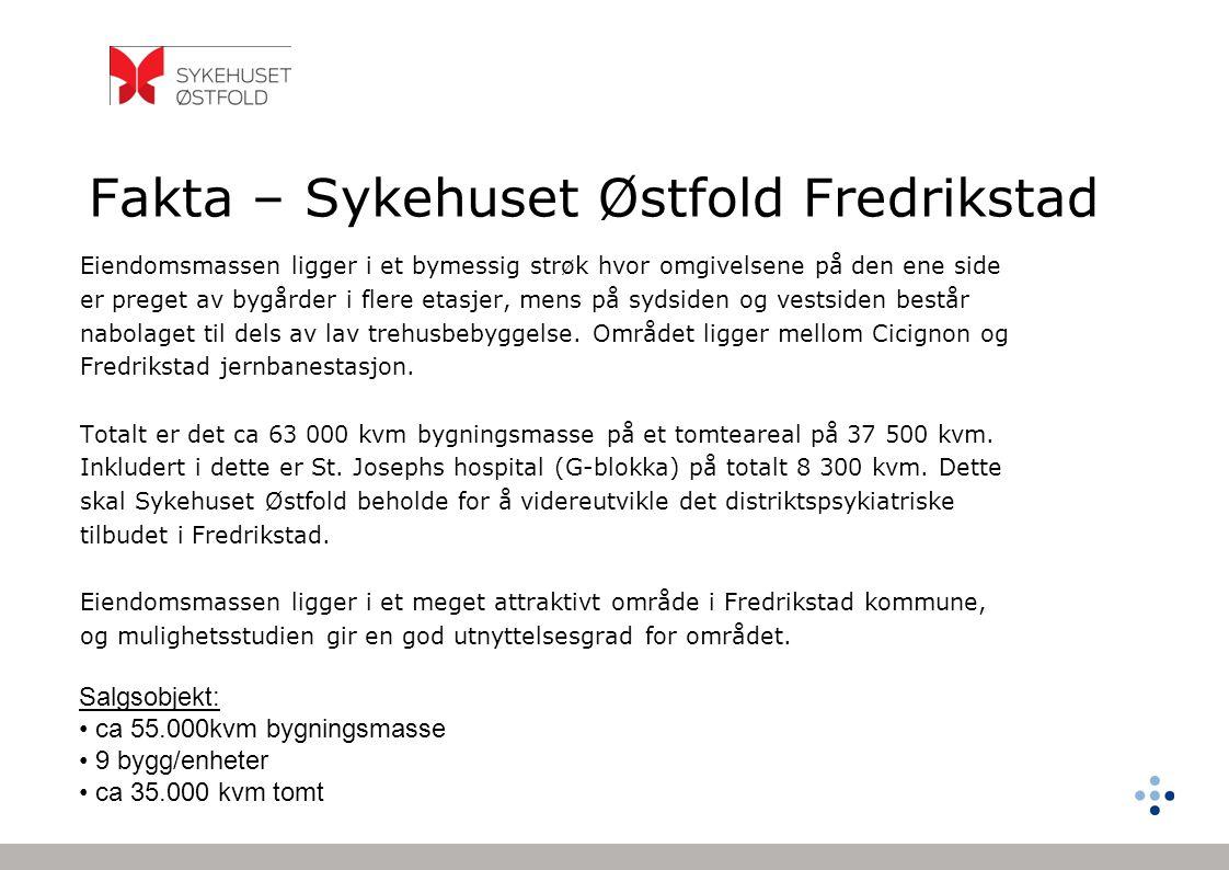 Fakta – Sykehuset Østfold Veum Salgsobjekt: • 25.387 kvm bygningsmasse • 108.300 kvm tomt Eiendommen har en landlig beliggenhet, men har likevel kort avstand til sentrum av Fredrikstad (5 km).