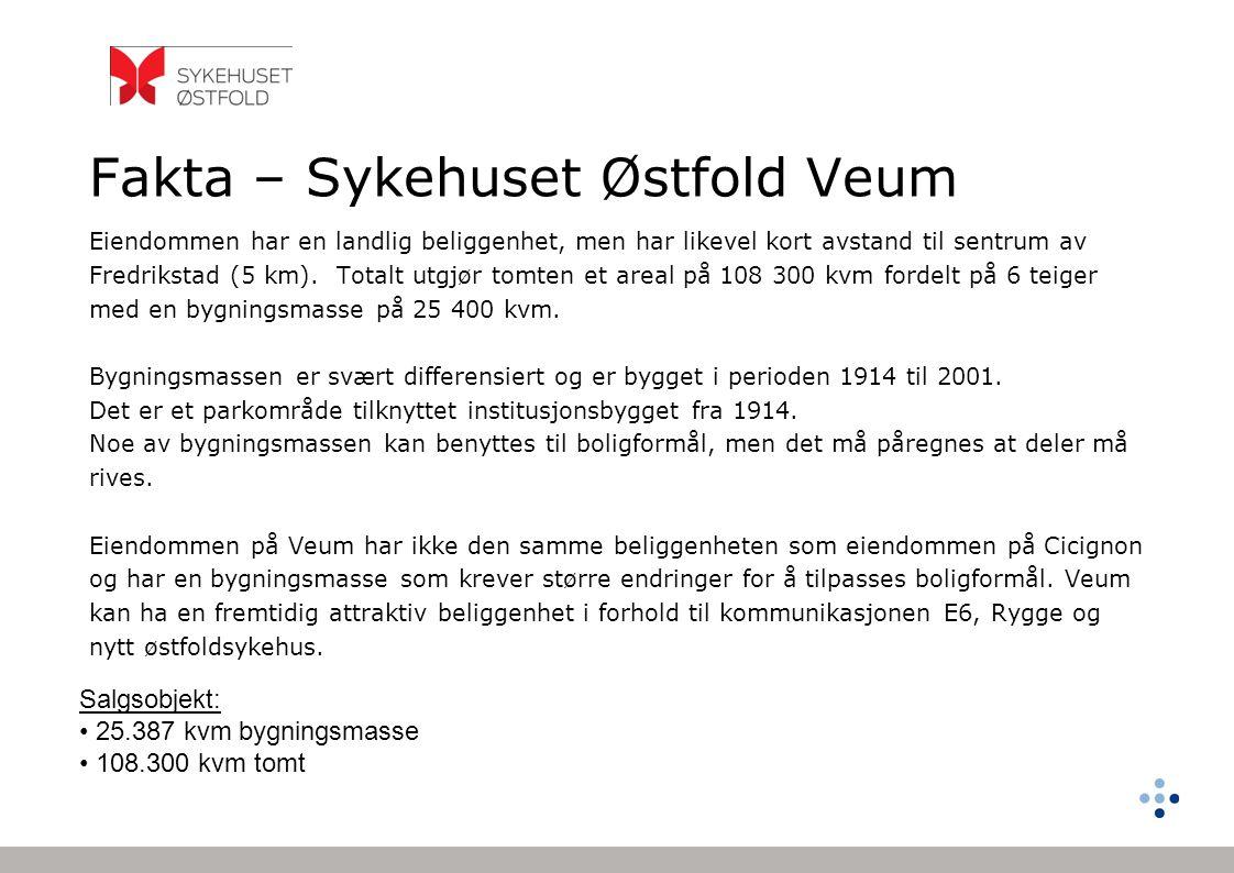 Fakta – Sykehuset Østfold Veum Salgsobjekt: • 25.387 kvm bygningsmasse • 108.300 kvm tomt Eiendommen har en landlig beliggenhet, men har likevel kort