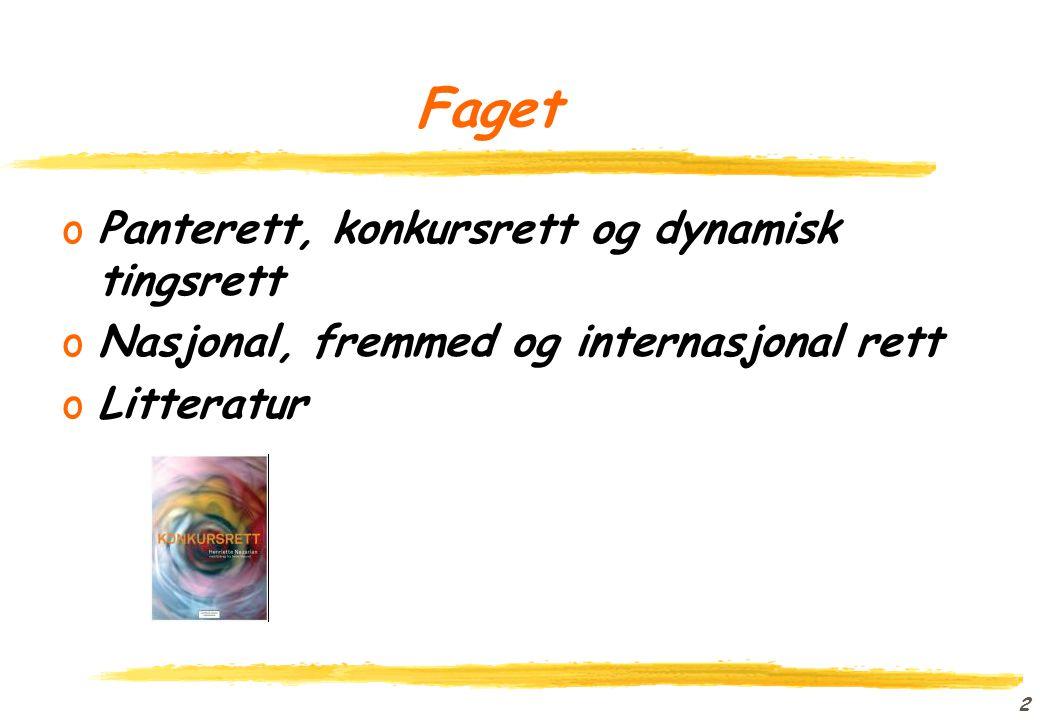 1 Internasjonal gjeldsforfølgingsrett oProfessor Erik Røsæg oNordisk institutt for sjørett oerik.rosag@jus.uio.no o2285 9752 ofolk.uio.no/erikro
