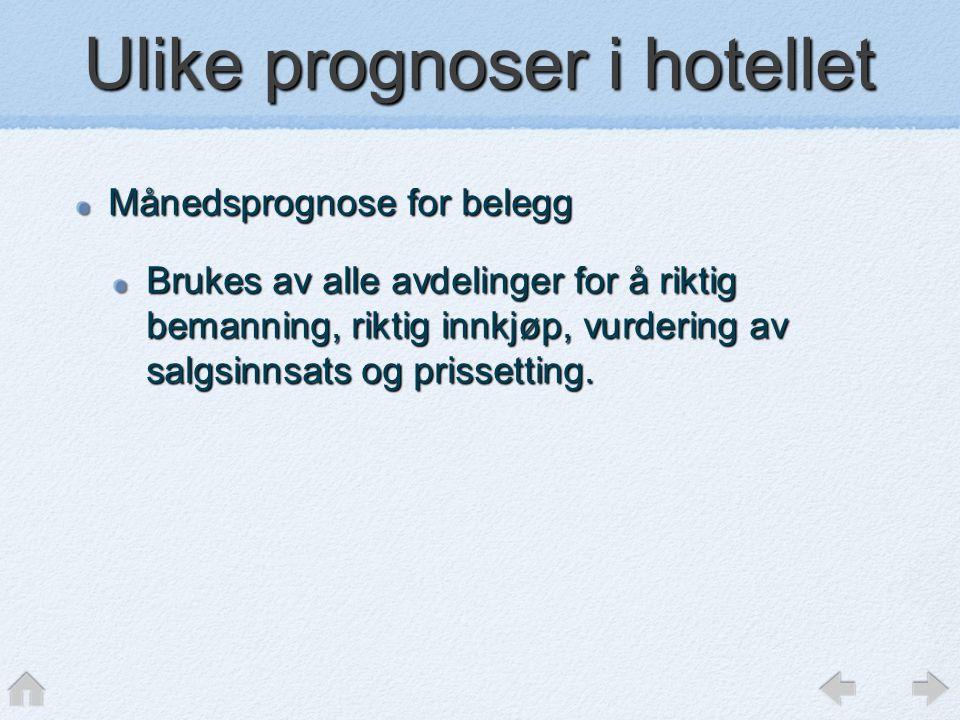 Ulike prognoser i hotellet Månedsprognose for belegg Brukes av alle avdelinger for å riktig bemanning, riktig innkjøp, vurdering av salgsinnsats og pr
