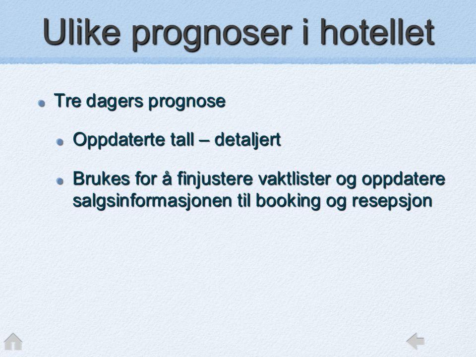 Ulike prognoser i hotellet Tre dagers prognose Oppdaterte tall – detaljert Brukes for å finjustere vaktlister og oppdatere salgsinformasjonen til book