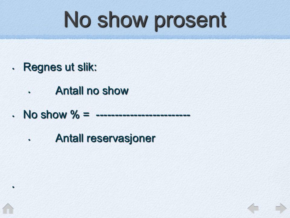 No show prosent • Regnes ut slik: • Antall no show • No show % = ------------------------- • Antall reservasjoner •