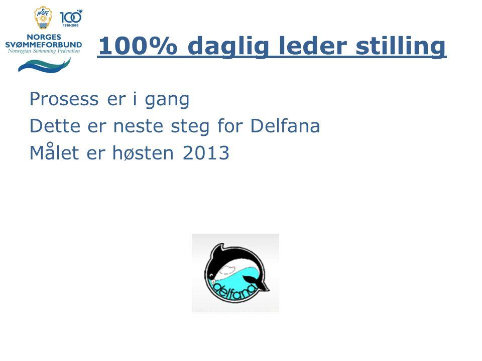 100% daglig leder stilling Prosess er i gang Dette er neste steg for Delfana Målet er høsten 2013