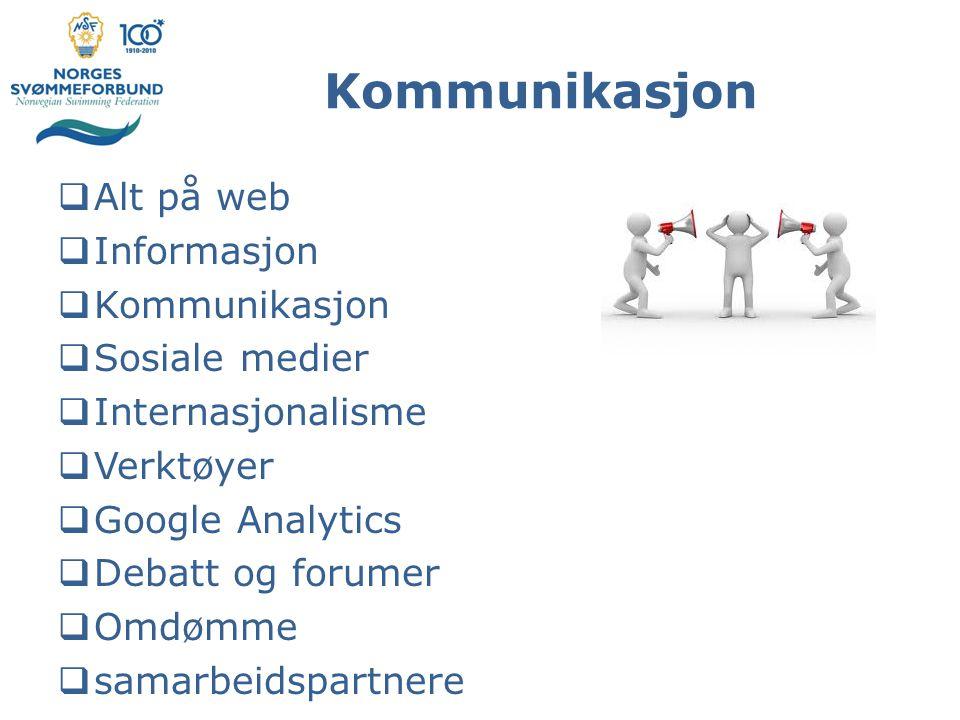 Kommunikasjon  Alt på web  Informasjon  Kommunikasjon  Sosiale medier  Internasjonalisme  Verktøyer  Google Analytics  Debatt og forumer  Omdømme  samarbeidspartnere