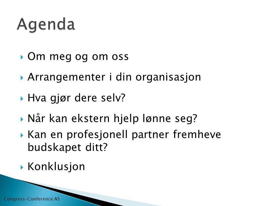 Om meg og om oss  Arrangementer i din organisasjon  Hva gjør dere selv.