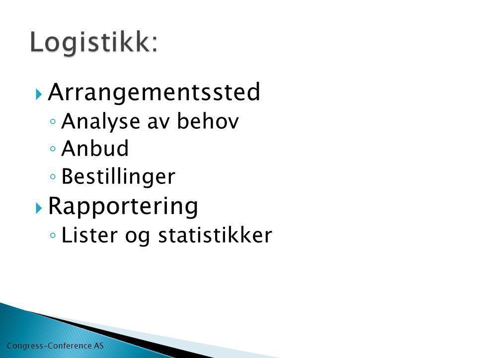  Arrangementssted ◦ Analyse av behov ◦ Anbud ◦ Bestillinger  Rapportering ◦ Lister og statistikker Congress-Conference AS