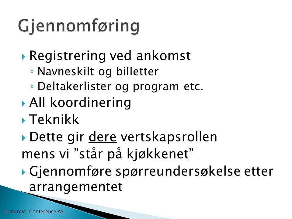  Registrering ved ankomst ◦ Navneskilt og billetter ◦ Deltakerlister og program etc.