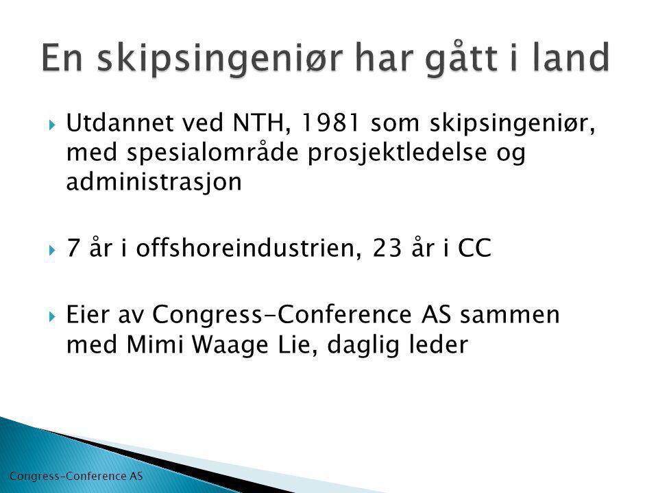  Utdannet ved NTH, 1981 som skipsingeniør, med spesialområde prosjektledelse og administrasjon  7 år i offshoreindustrien, 23 år i CC  Eier av Congress-Conference AS sammen med Mimi Waage Lie, daglig leder Congress-Conference AS
