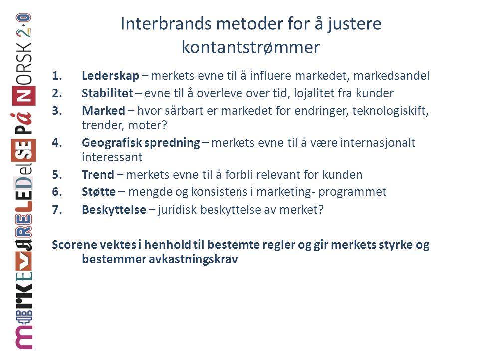 Interbrands metoder for å justere kontantstrømmer 1.Lederskap – merkets evne til å influere markedet, markedsandel 2.Stabilitet – evne til å overleve over tid, lojalitet fra kunder 3.Marked – hvor sårbart er markedet for endringer, teknologiskift, trender, moter.