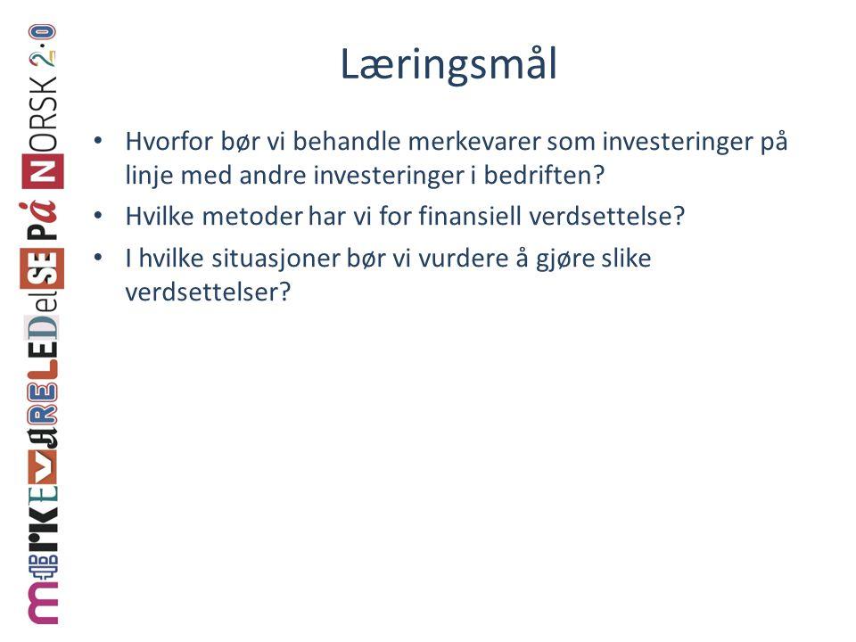 Læringsmål • Hvorfor bør vi behandle merkevarer som investeringer på linje med andre investeringer i bedriften.