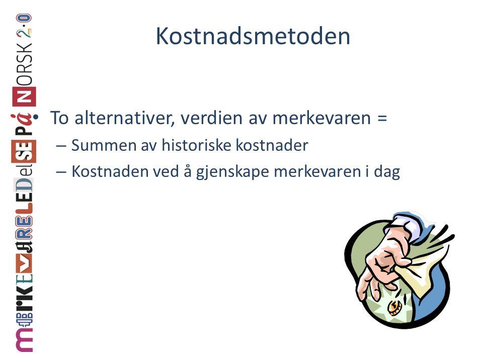 Kostnadsmetoden • To alternativer, verdien av merkevaren = – Summen av historiske kostnader – Kostnaden ved å gjenskape merkevaren i dag