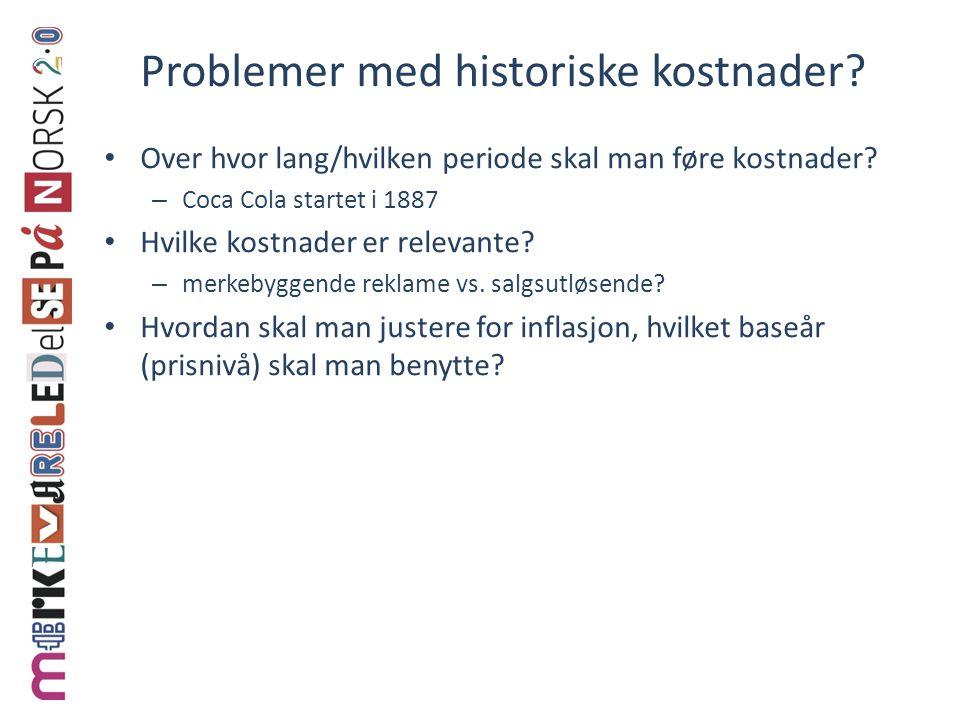 Problemer med historiske kostnader.• Over hvor lang/hvilken periode skal man føre kostnader.
