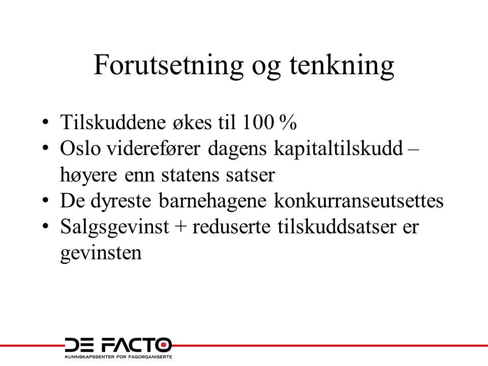 Forutsetning og tenkning • Tilskuddene økes til 100 % • Oslo viderefører dagens kapitaltilskudd – høyere enn statens satser • De dyreste barnehagene k