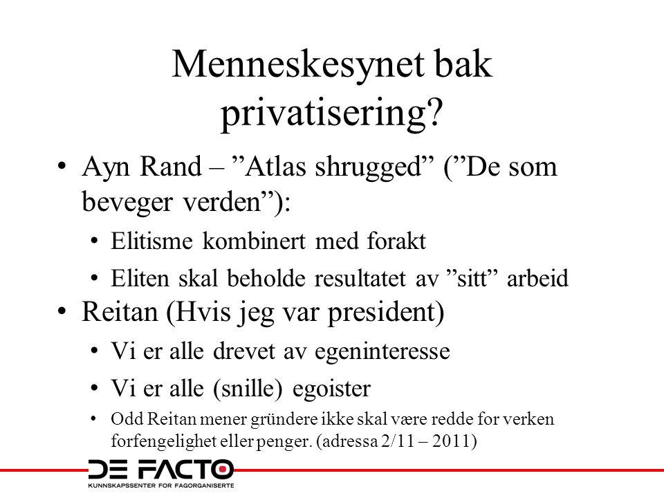 """Menneskesynet bak privatisering? • Ayn Rand – """"Atlas shrugged"""" (""""De som beveger verden""""): • Elitisme kombinert med forakt • Eliten skal beholde result"""