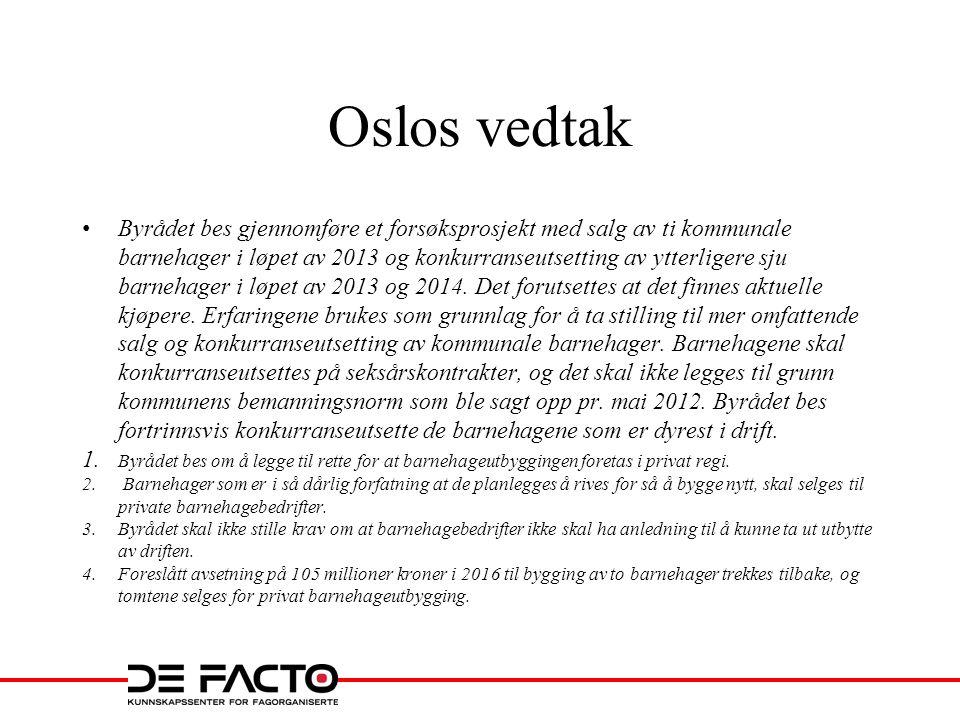 Oslos vedtak • Byrådet bes gjennomføre et forsøksprosjekt med salg av ti kommunale barnehager i løpet av 2013 og konkurranseutsetting av ytterligere s