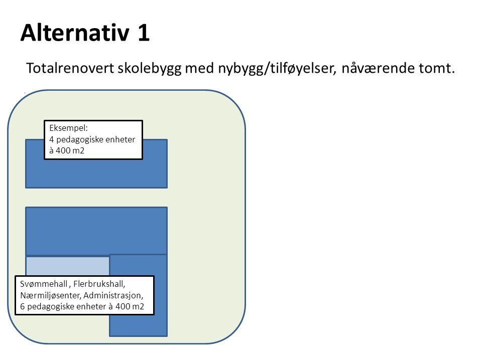 Alternativ 1 Totalrenovert skolebygg med nybygg/tilføyelser, nåværende tomt..