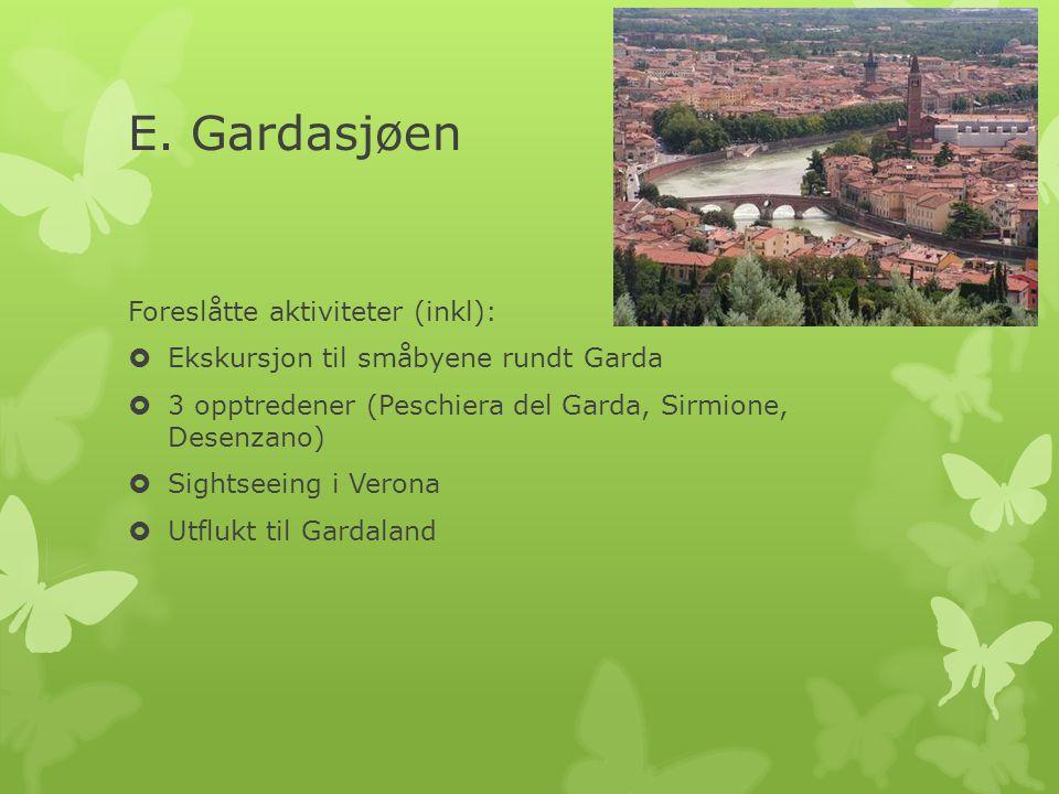E. Gardasjøen Foreslåtte aktiviteter (inkl):  Ekskursjon til småbyene rundt Garda  3 opptredener (Peschiera del Garda, Sirmione, Desenzano)  Sights