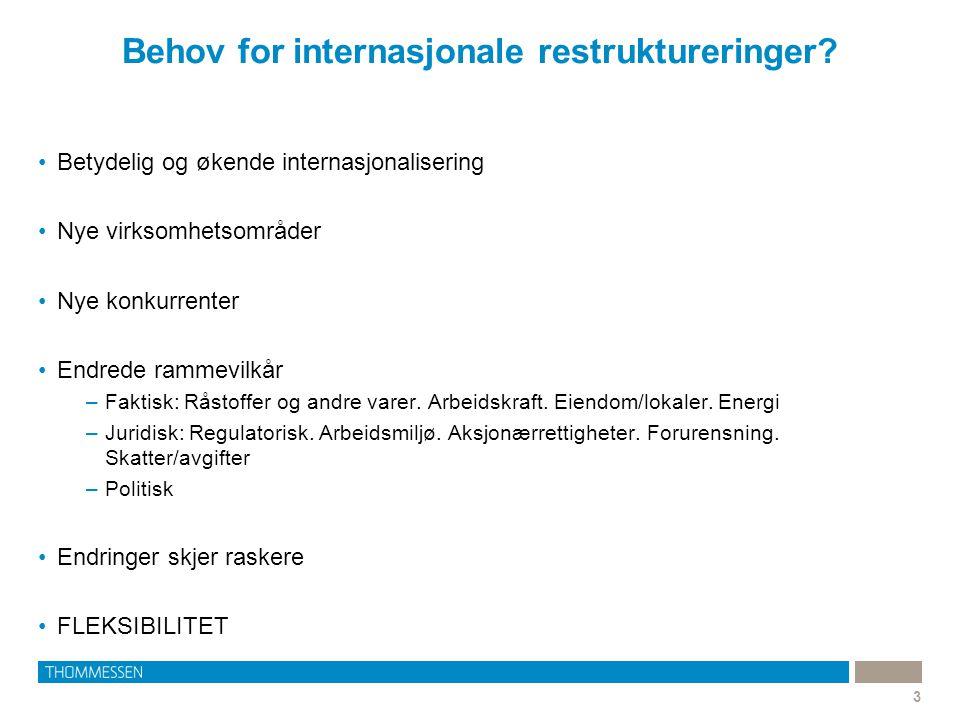 Behov for internasjonale restruktureringer? 3 •Betydelig og økende internasjonalisering •Nye virksomhetsområder •Nye konkurrenter •Endrede rammevilkår