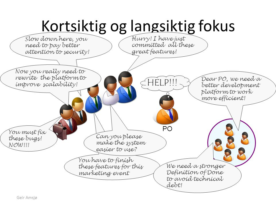 You have to finish these features for this marketing event Kortsiktig og langsiktig fokus Geir Amsjø PO Slow down here, you need to pay better attenti