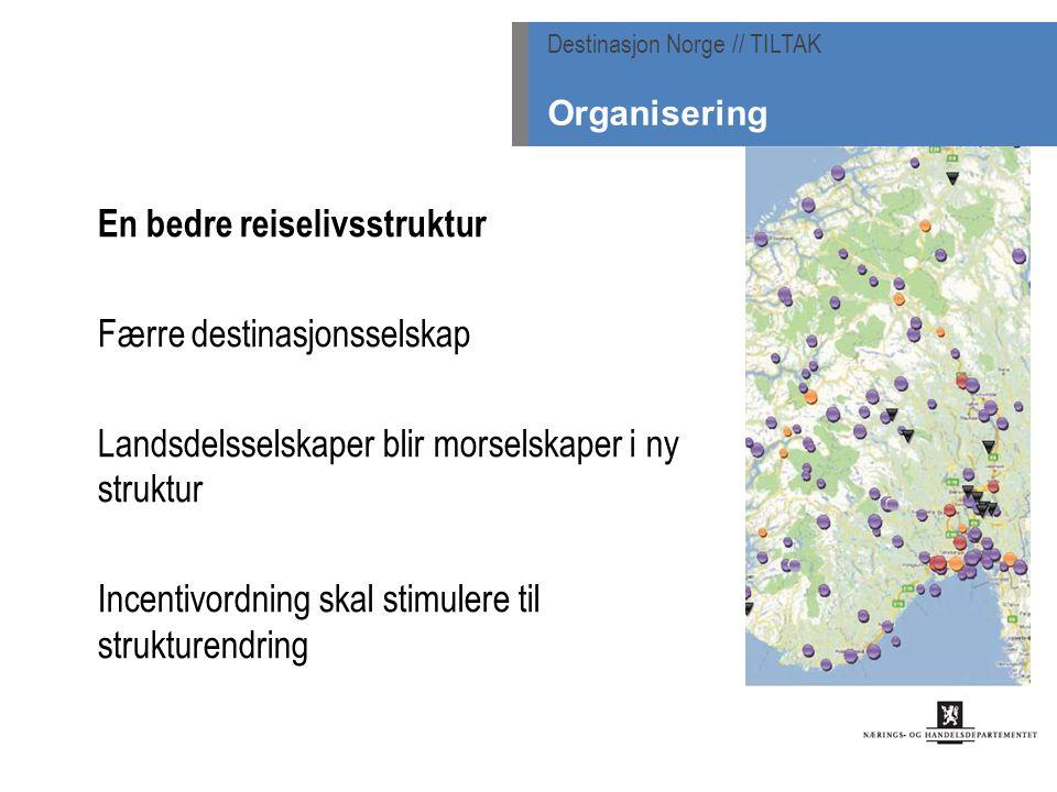 En bedre reiselivsstruktur Færre destinasjonsselskap Landsdelsselskaper blir morselskaper i ny struktur Incentivordning skal stimulere til strukturendring Destinasjon Norge // TILTAK Organisering