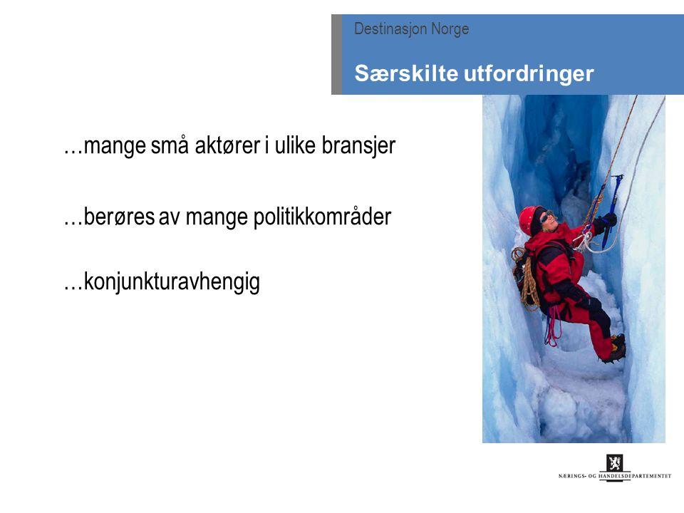 …mange små aktører i ulike bransjer …berøres av mange politikkområder …konjunkturavhengig Destinasjon Norge Særskilte utfordringer