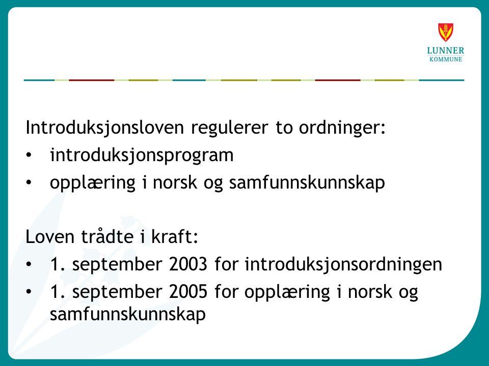 Introduksjonsloven regulerer to ordninger: • introduksjonsprogram • opplæring i norsk og samfunnskunnskap Loven trådte i kraft: • 1.