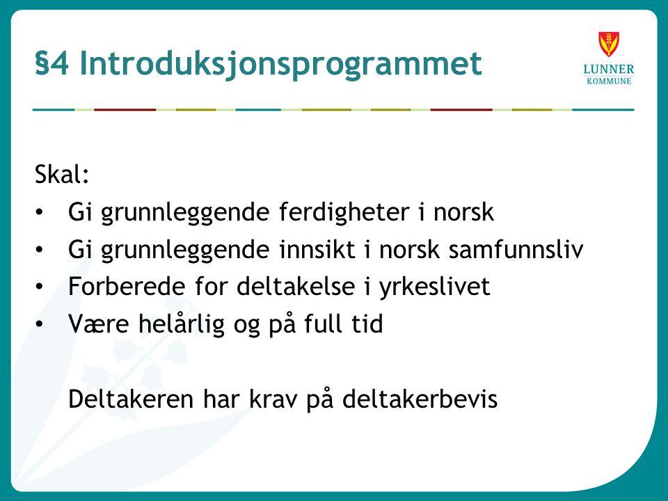 §4 Introduksjonsprogrammet Skal: • Gi grunnleggende ferdigheter i norsk • Gi grunnleggende innsikt i norsk samfunnsliv • Forberede for deltakelse i yrkeslivet • Være helårlig og på full tid Deltakeren har krav på deltakerbevis