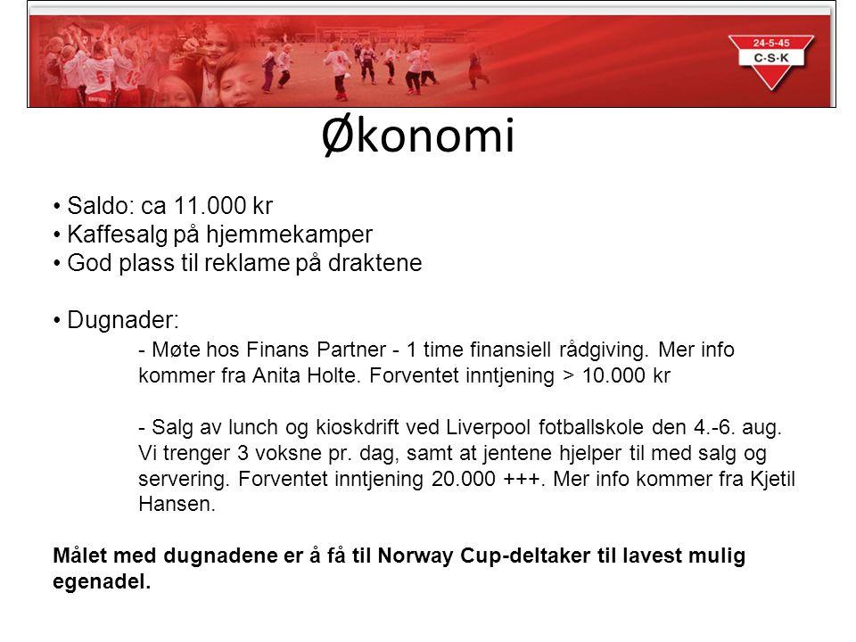 Økonomi • Saldo: ca 11.000 kr • Kaffesalg på hjemmekamper • God plass til reklame på draktene • Dugnader: - Møte hos Finans Partner - 1 time finansiell rådgiving.