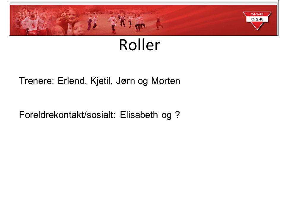 Trenere: Erlend, Kjetil, Jørn og Morten Foreldrekontakt/sosialt: Elisabeth og Roller